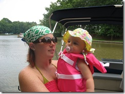 mama and baby on the boat