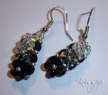 Pendientes 3 flores negro, blackdiamond crystal ab