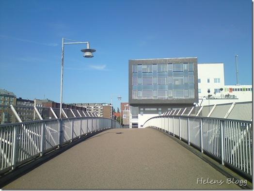 Gångbron från högskolan till söder