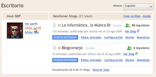 Para editar tu perfil en Blogger