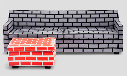 Cool Sofa and Chair Designs with Brick Upholstering