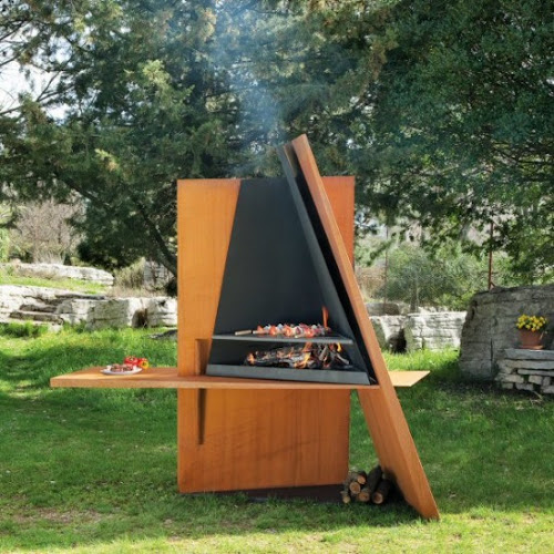 Cool Outdoor BBQ Grill Made of Wood and Steel