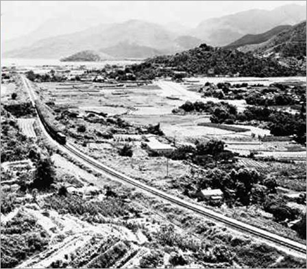 A KCR TRAIN PASSING THROUGH THE SHA TIN VALLEY 1965