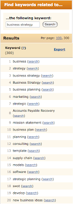 Wordtracker related search results for 'business strategy'