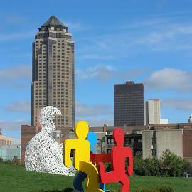 A place to Visit by Linda McCormick - City,  Street & Park  City Parks ( sculptures, red, park, blue, sculper park, yellow, des moines )