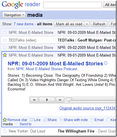 Media Folder in Google Reader