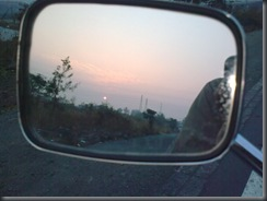 Sunrise in rear view