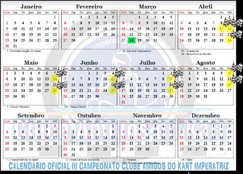 CALENDÁRIO OFICIAL III CAMPEONATO