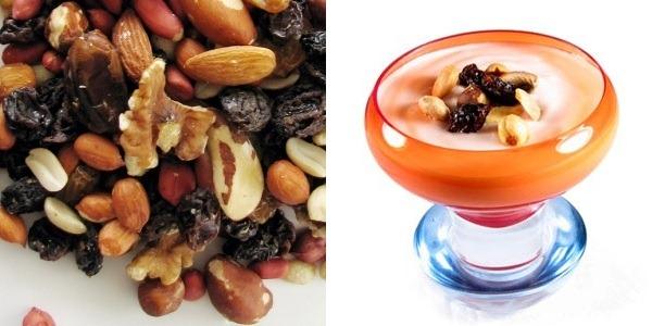 frutas secas con yogurt