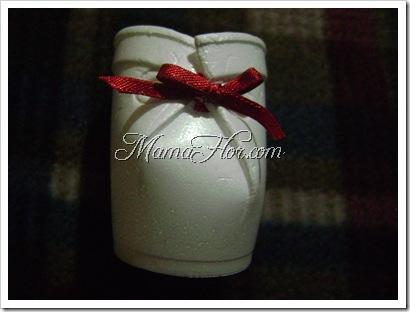 Vasitos en forma de botin para brindis en el baby shawer