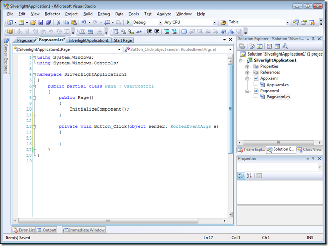 Blend opens Visual Studio for event handler coding