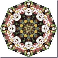 octagon tea bag tile, pink, green white
