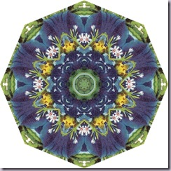 octagon tea bag tile, blue, green, yellow, white