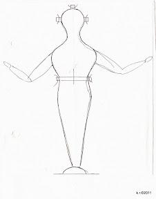 Werkskizze 11b-Korpus zu Figur 11b - Drahtfigur