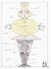 Werkskizze zu Figur 11a/c - Tänzer mit Goldkugel