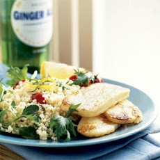 Halloumi with Couscous and Greens