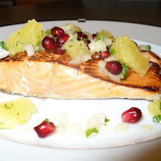Salmon With Pomegranate and Orange Salsa