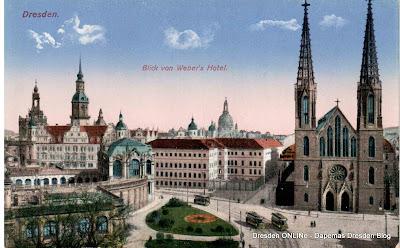 Dresden, Sophienkirche - Blick von Weber's Hotel ca. 1920
