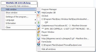 Hide or Make Windows Programs Invisible With WinHide.SB