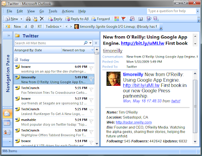 Twitter on Microsoft Outlook