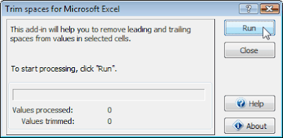 Trim spaces in MS Excel using Add-In