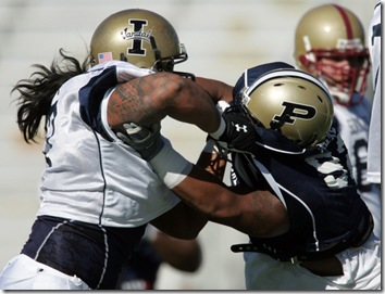 26 JAN 2010:   Mike Iupati (77) of Idaho goes against Purdue's Mike Neal (92) during the 2010 Under Armour Senior Bowl North practice at Ladd-Peebles Stadium in Mobile, Alabama.