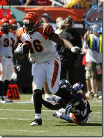 13 September 2009:  Cincinnati Bengals&#39; tight end Daniel Coats (86) against the Denver Broncos&#39; Alphonso Smith (33) in their NFL football game at Paul Brown Stadium in Cincinnati, Ohio.