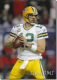 15 January 2011: Green Bay Packers quarterback Aaron Rodgers (12) drops back to pass in first half action of the Green Bay Packers at Atlanta Falcons NFC Divisional playoff at the Georgia Dome in Atlanta Georgia.