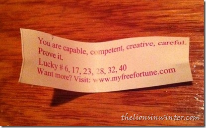A fortune, from a fortune cookie.
