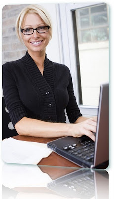 A smiling woman applying for online payday loans with instant decision.