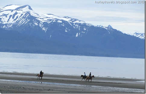 One..two...post. English Riders on the Homer Spit beach.
