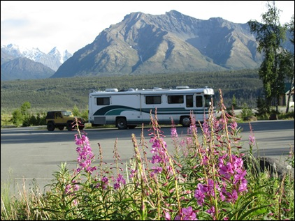 Ferd and Ole Yeller at our overnight spot on the Glenn Highway, mile 101, Matanuska Glacier.