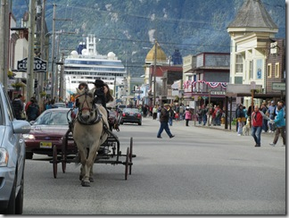 Skagway street scene.  There are carriage rides and shuttles if you choose to get around by other than foot.