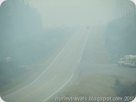 Smoke on the Yellowhead Highway from the wildfires burning in British Columbia. But we didn't see any fire.  The firefighters were hard at work keeping it safe for everyone.