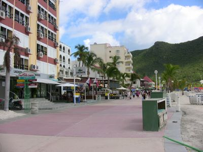 Philipsburg St. Maarten Pictures. Front Street of Philipsburg