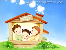 Lovely_illustration_of_Happy_family_in_house_wallcoo.com
