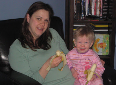 Mama and Peanut hanging out eating Bananas