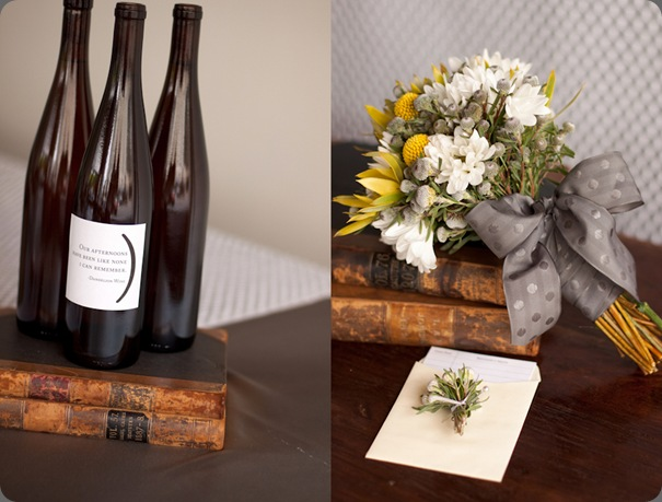custom-wine-bottles-wedding-reception-yellow-gray-modern-loft-wedding-reception the sweetest occasion