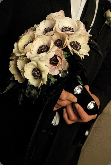 White anemones and black feathers wrapped in black velvet with cut crystals. Fiori Floral Design, Toronto, ON, Canada; grace ormand