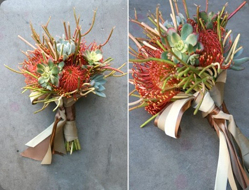Bridal bouquet succulents, pencil cactus and pin cushion proteas. arrangements designs