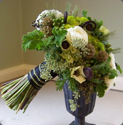 200910310362 privet berries, fern curls, anemones, ranunculus, stellata pods, seeded eucalyptus, hydrangea, Kermit button poms, hypericum berries, wheat and scented geranium floral verde