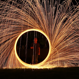 Ring of Fire by Jeff McVoy - Abstract Light Painting ( ring, light painting, painting with light, ring of fire, sparks, light, painting, fire )