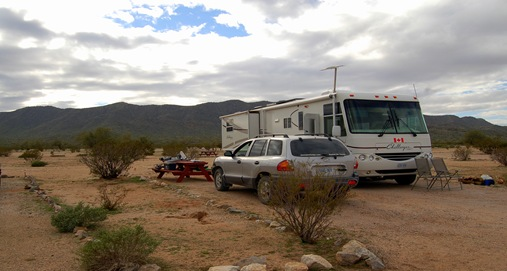 OUR CAMPSITE IN CASA GRANDE, ARIZONA
