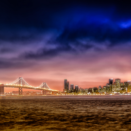 San Francisco by Richard Depinay - City,  Street & Park  Skylines ( lights, skyline, san, bay, california, francisco, night, sunrise, bridge, downtown, city )
