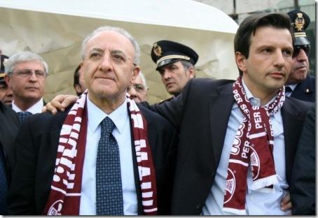 presidente salernitana antonio lombardi e il sindaco vincenzo de luca salerno