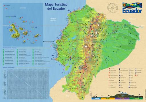 Mapa vial y turístico del Ecuador