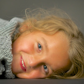 Molly Loves Lipstick.. by Martha Pope - Babies & Children Child Portraits ( child, girl, blue eyes, lipstick, smile, tan,  )