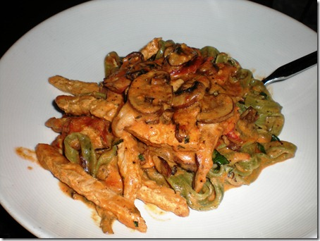 my spinach pasta with mushrooms, roasted tomatoes, and smoked gardine