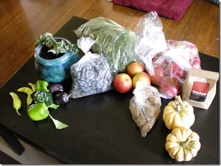 peppers, concord grapes, swischard, apples, sweet potatoes, coffee, carnival squash