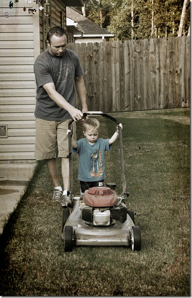 isaac mowing lawn